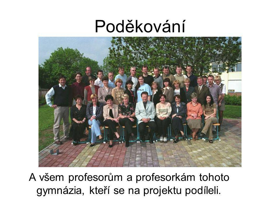 Poděkování A všem profesorům a profesorkám tohoto gymnázia, kteří se na projektu podíleli.
