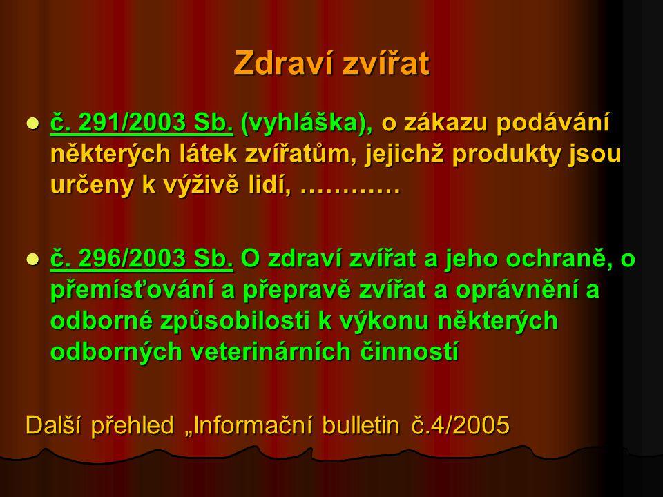 Zdraví zvířat č. 291/2003 Sb. (vyhláška), o zákazu podávání některých látek zvířatům, jejichž produkty jsou určeny k výživě lidí, …………