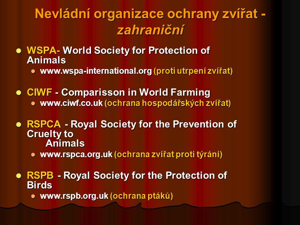 Nevládní organizace ochrany zvířat - zahraniční