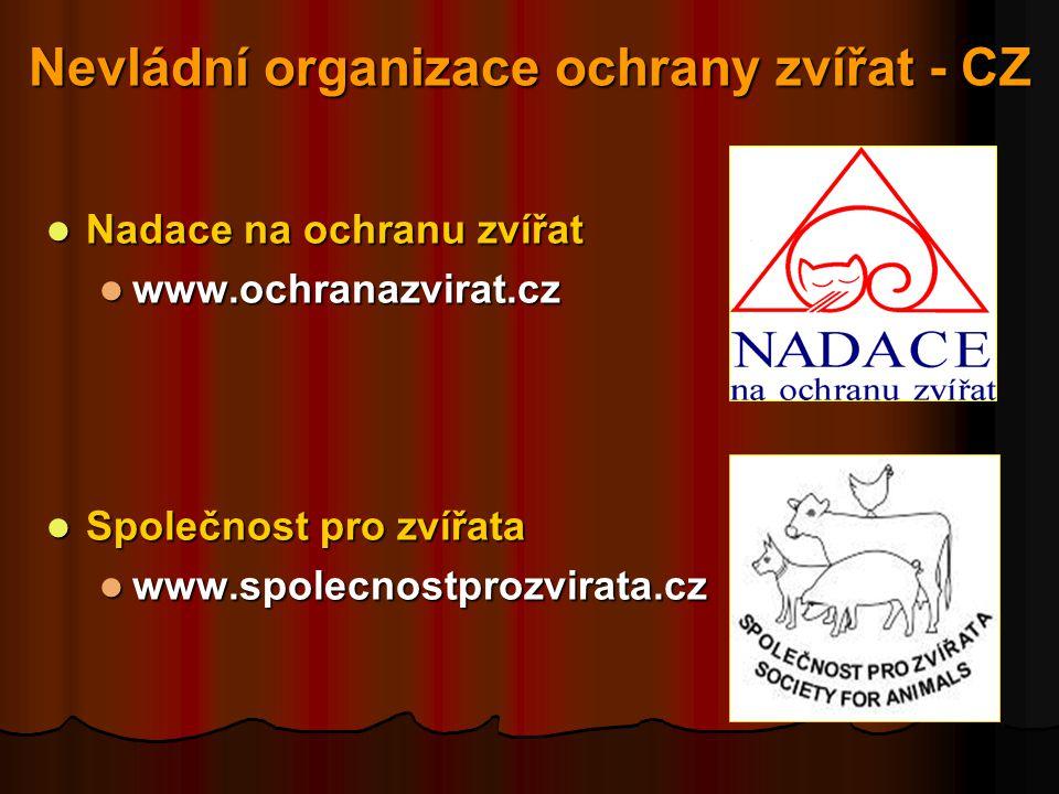 Nevládní organizace ochrany zvířat - CZ