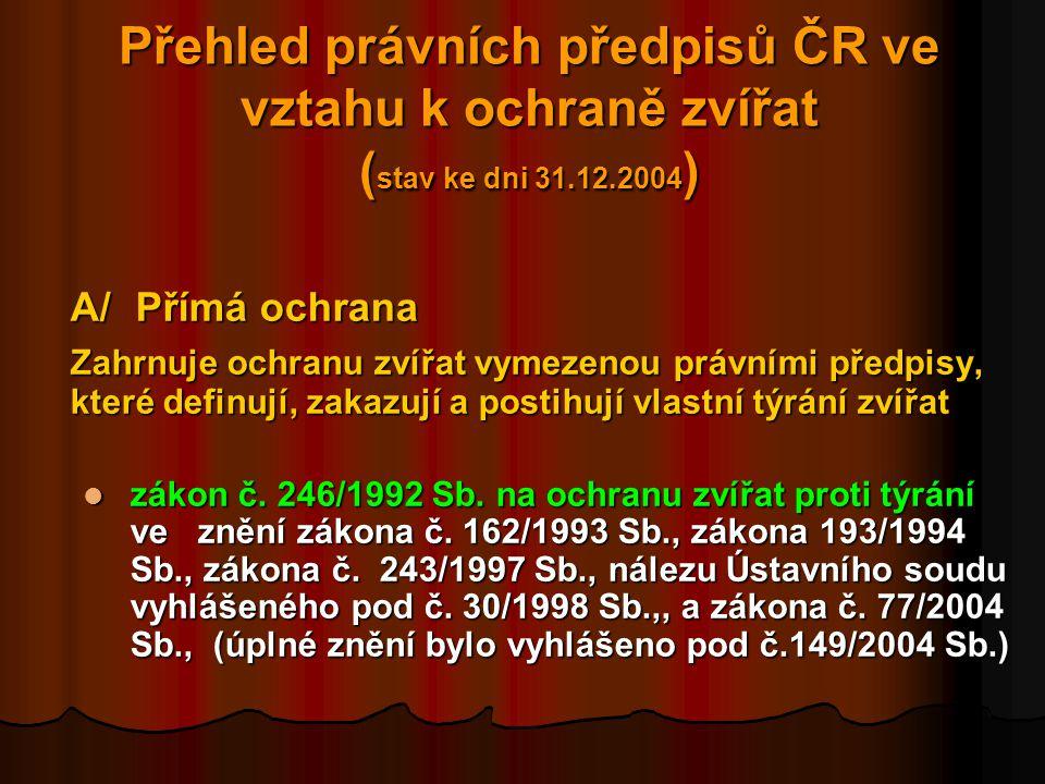 Přehled právních předpisů ČR ve vztahu k ochraně zvířat (stav ke dni 31.12.2004)