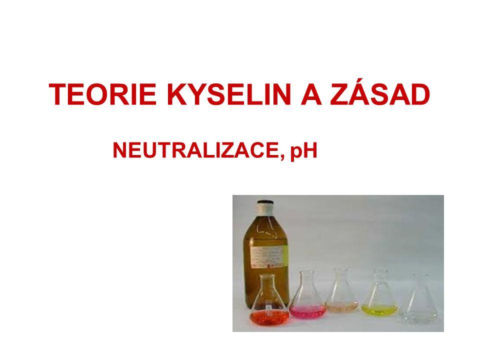 TEORIE KYSELIN A ZÁSAD NEUTRALIZACE, pH