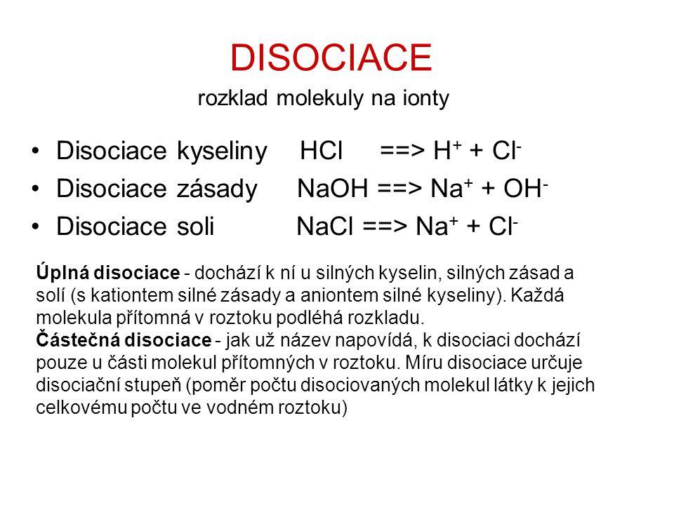 rozklad molekuly na ionty