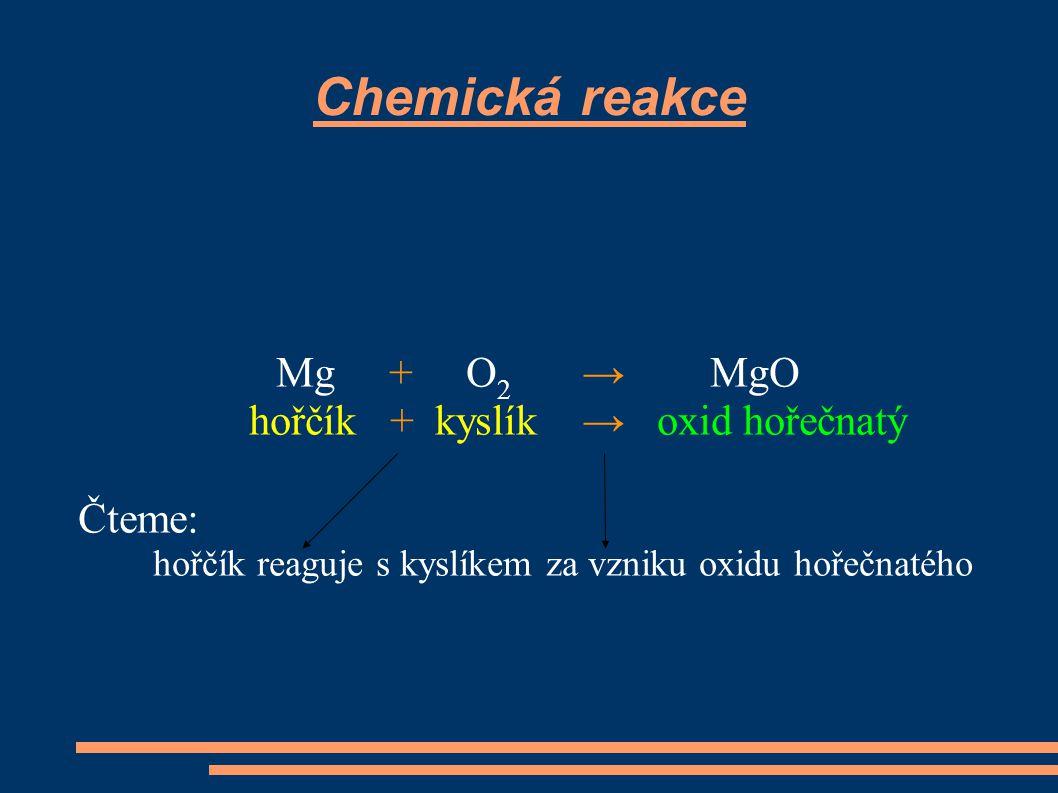 Chemická reakce Mg + O2 → MgO hořčík + kyslík → oxid hořečnatý Čteme: