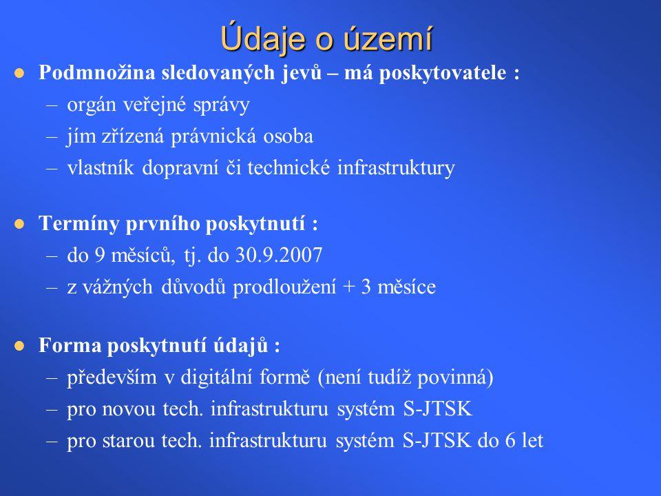 Údaje o území Podmnožina sledovaných jevů – má poskytovatele :