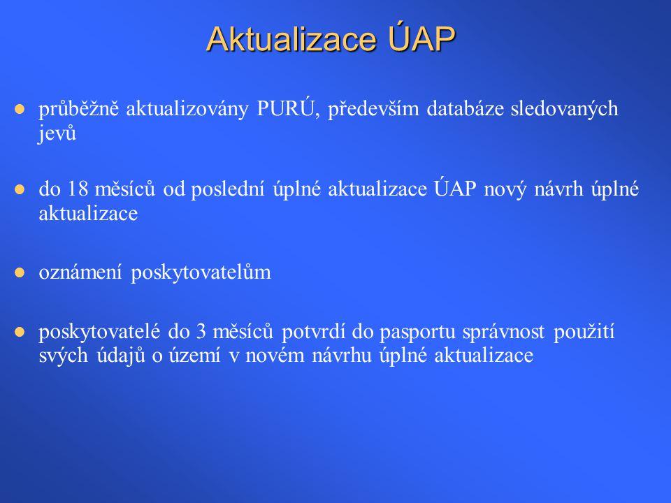 Aktualizace ÚAP průběžně aktualizovány PURÚ, především databáze sledovaných jevů.