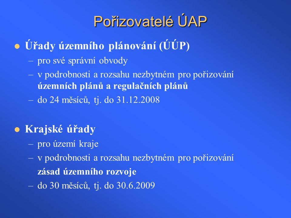 Pořizovatelé ÚAP Úřady územního plánování (ÚÚP) Krajské úřady