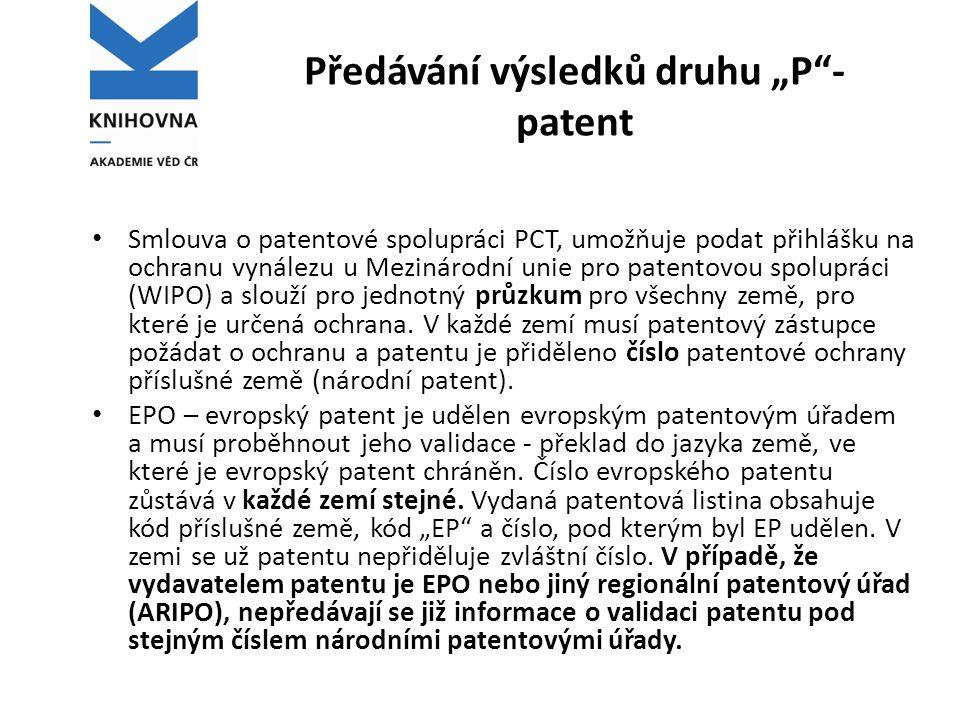 """Předávání výsledků druhu """"P -patent"""
