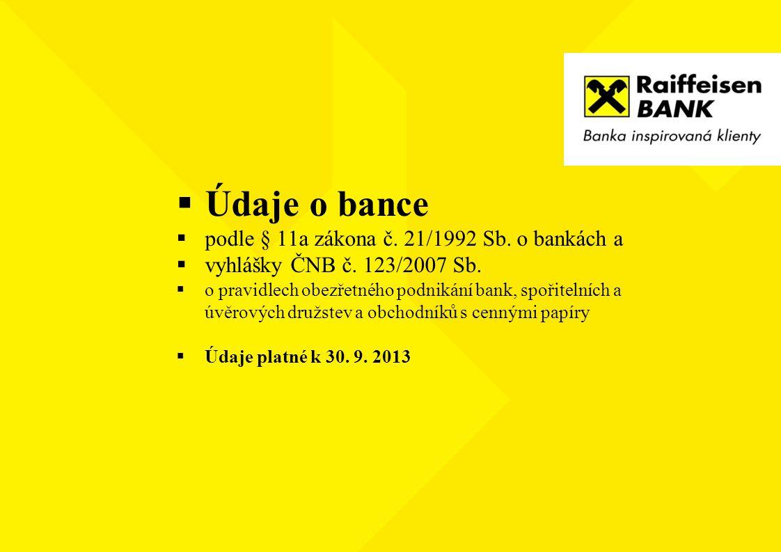 Údaje o bance podle § 11a zákona č. 21/1992 Sb. o bankách a