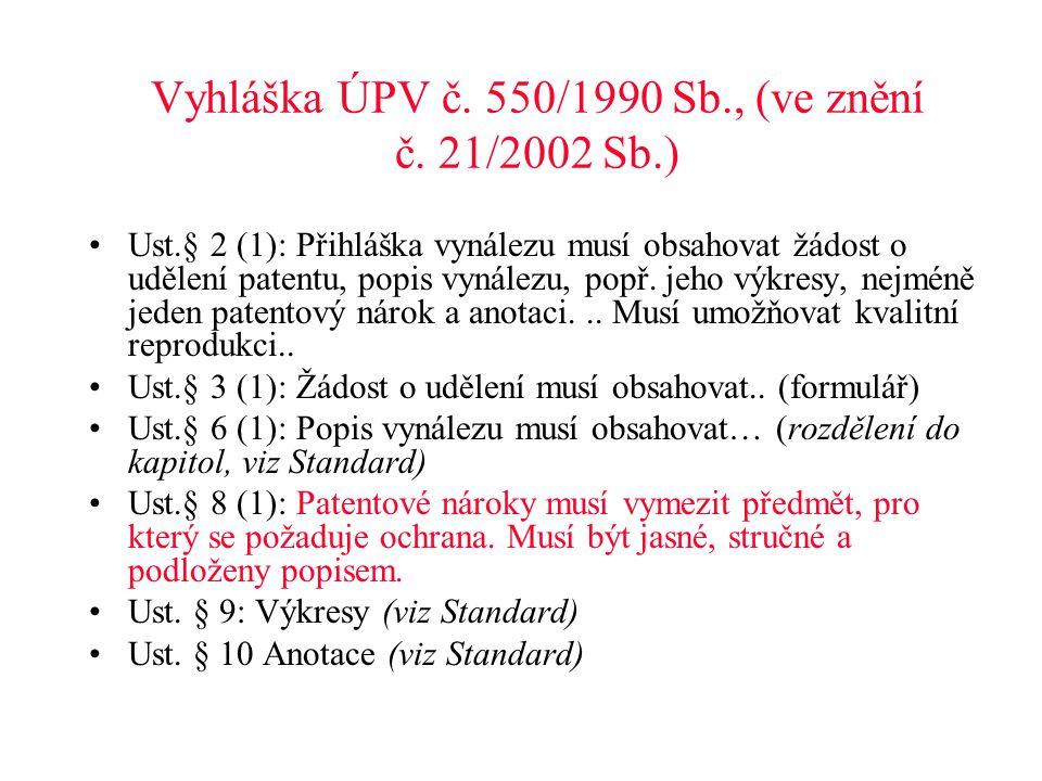 Vyhláška ÚPV č. 550/1990 Sb., (ve znění č. 21/2002 Sb.)