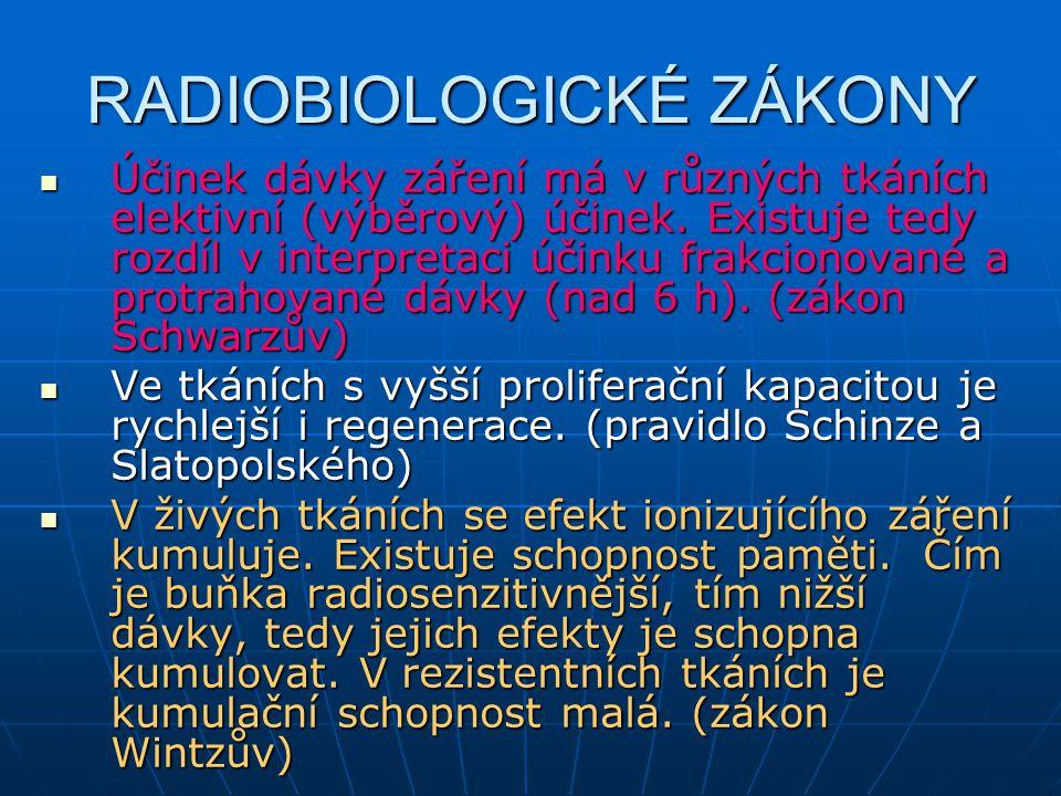RADIOBIOLOGICKÉ ZÁKONY