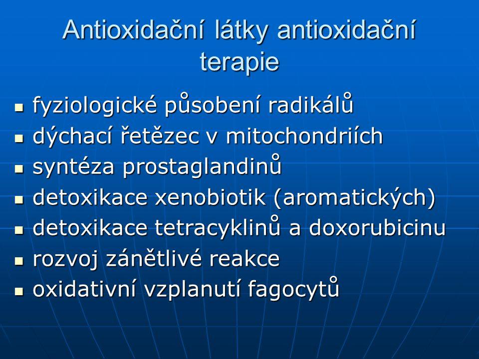 Antioxidační látky antioxidační terapie