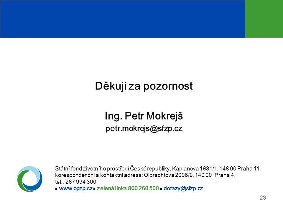 Děkuji za pozornost Ing. Petr Mokrejš petr.mokrejs@sfzp.cz