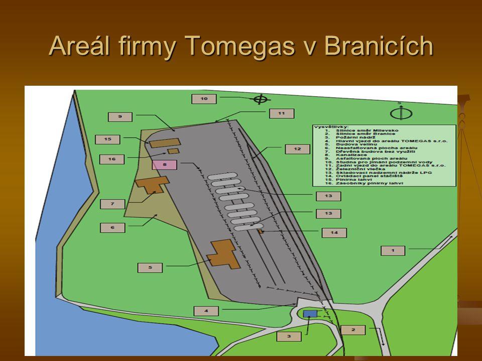 Areál firmy Tomegas v Branicích