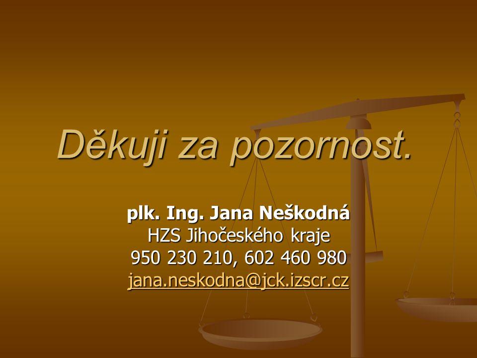 Děkuji za pozornost. plk. Ing. Jana Neškodná HZS Jihočeského kraje