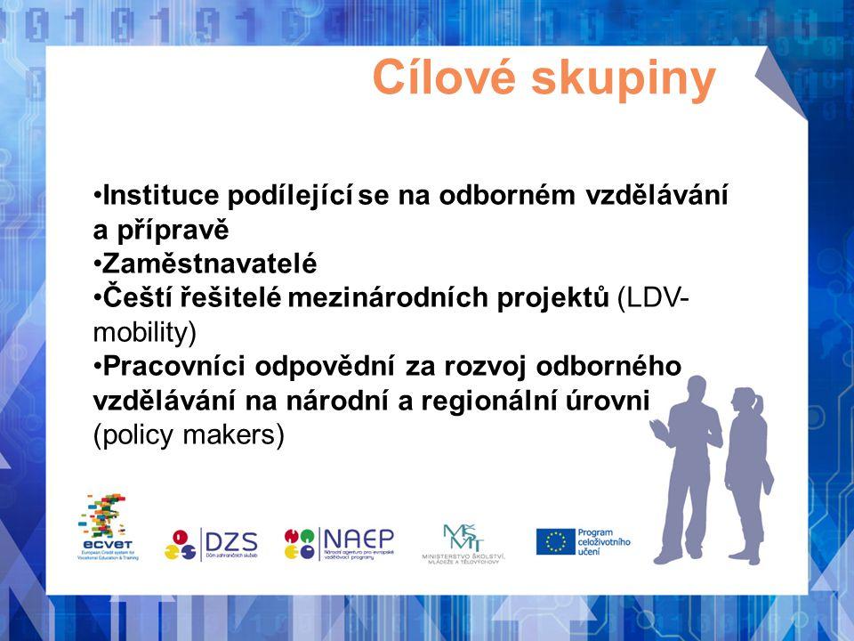 Cílové skupiny Instituce podílející se na odborném vzdělávání a přípravě. Zaměstnavatelé. Čeští řešitelé mezinárodních projektů (LDV-mobility)