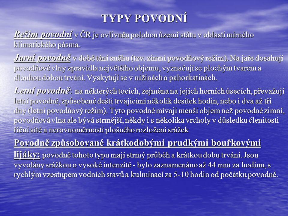 TYPY POVODNÍ Režim povodní v ČR je ovlivněn polohou území státu v oblasti mírného klimatického pásma.