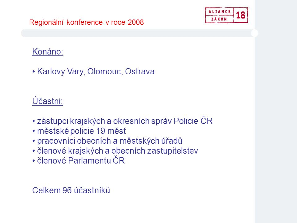 Karlovy Vary, Olomouc, Ostrava