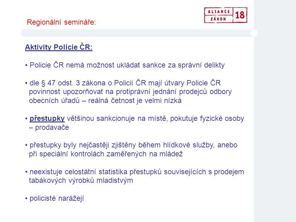 Regionální semináře: Aktivity Policie ČR: Policie ČR nemá možnost ukládat sankce za správní delikty.