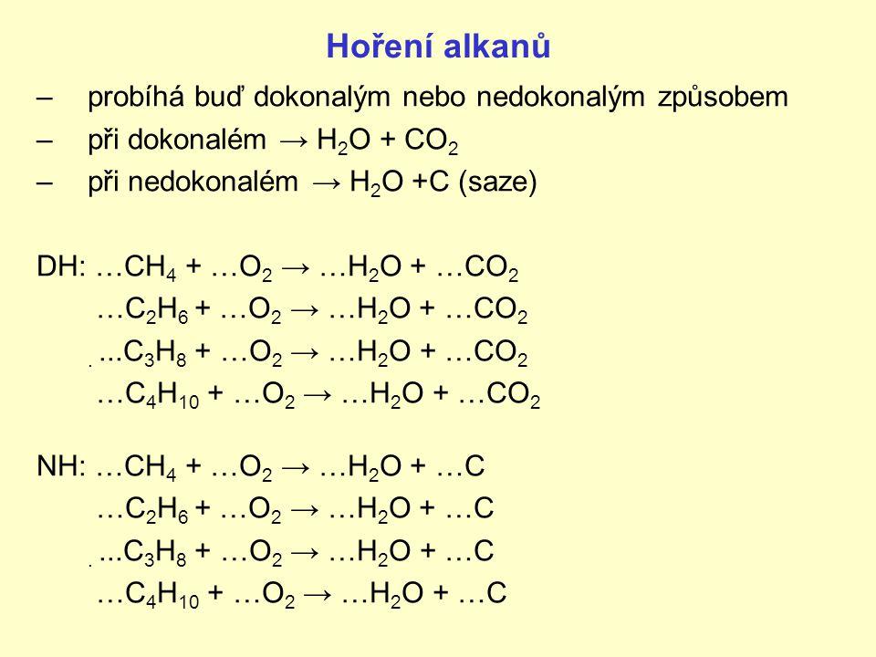 Hoření alkanů probíhá buď dokonalým nebo nedokonalým způsobem