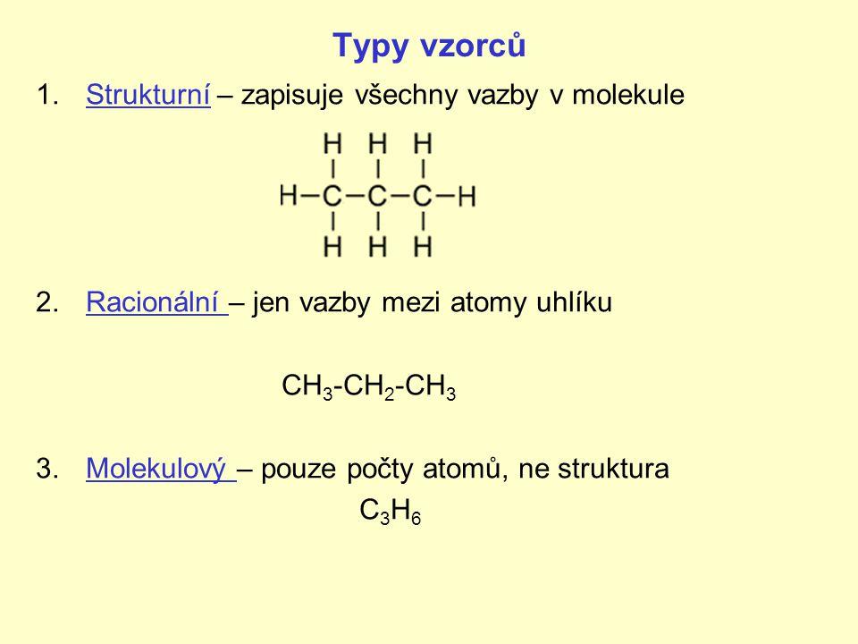Typy vzorců Strukturní – zapisuje všechny vazby v molekule