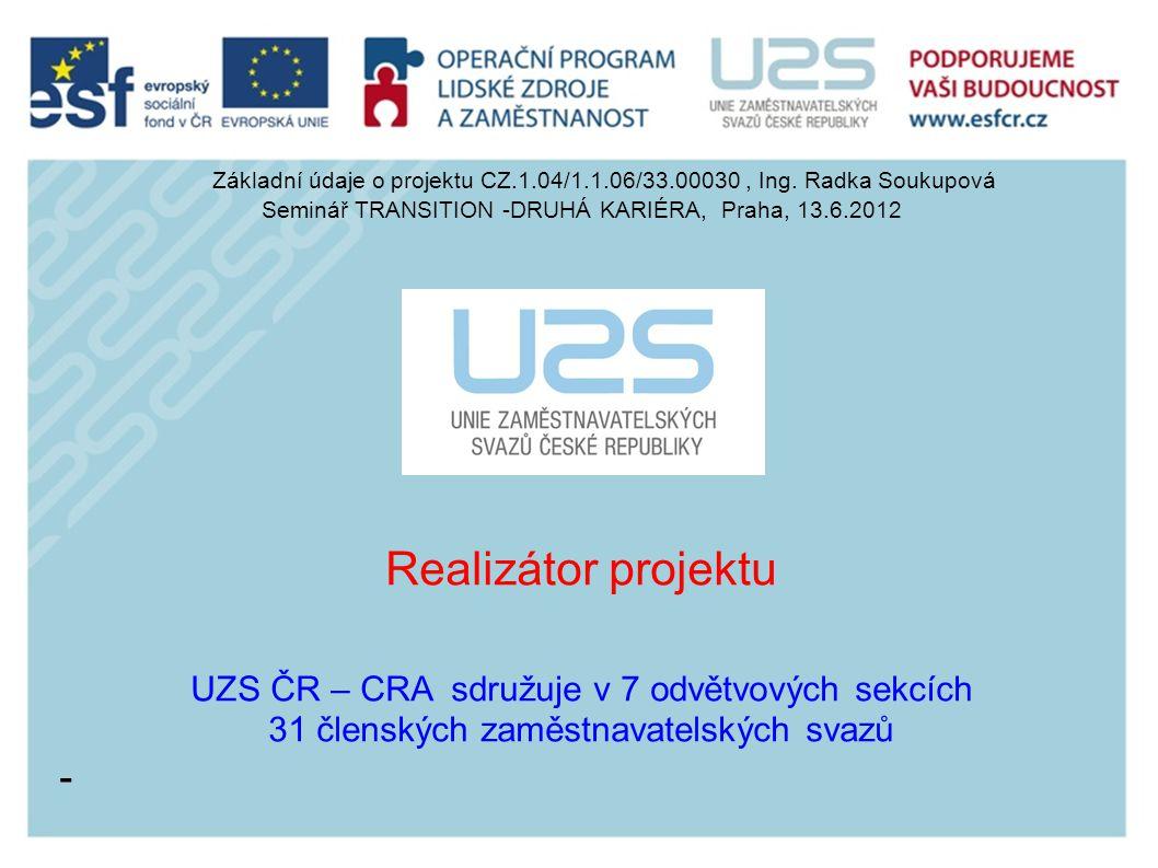 Realizátor projektu - UZS ČR – CRA sdružuje v 7 odvětvových sekcích