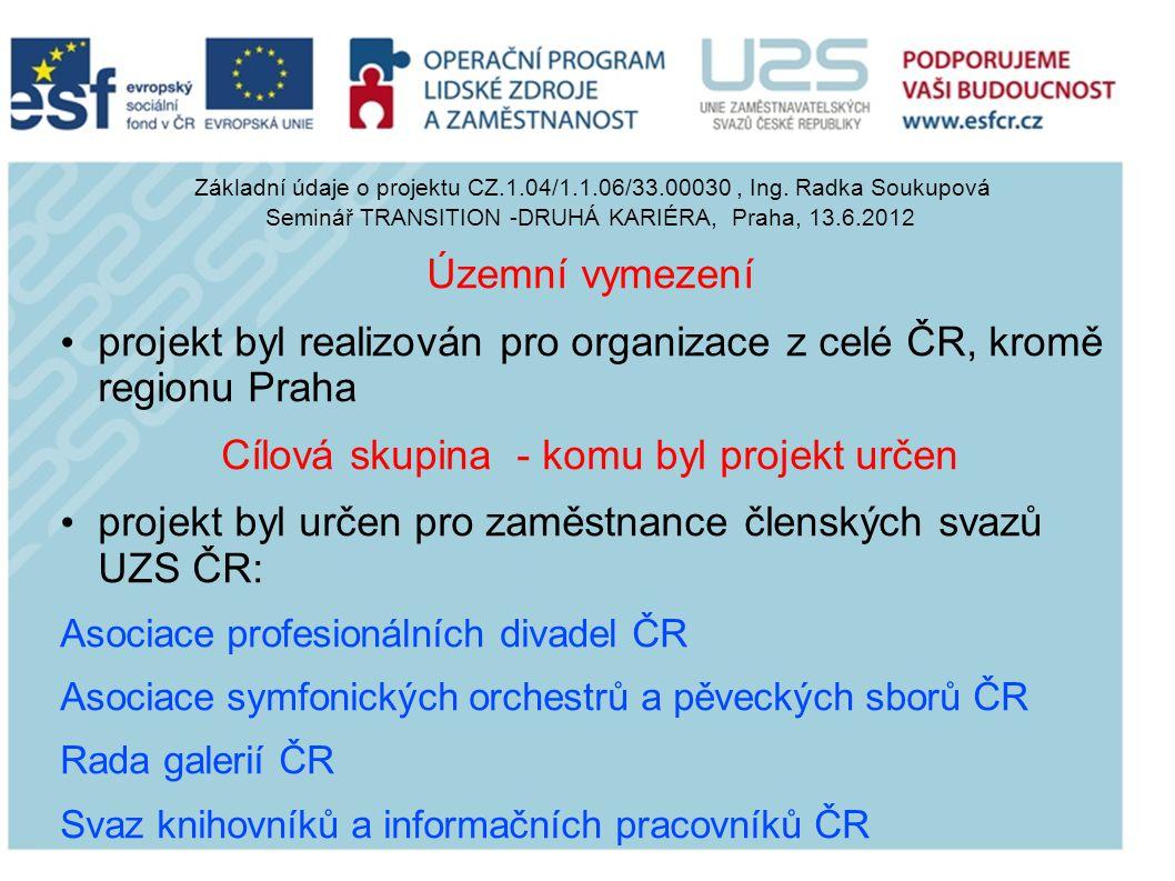 projekt byl realizován pro organizace z celé ČR, kromě regionu Praha