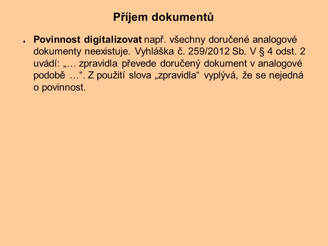 Příjem dokumentů