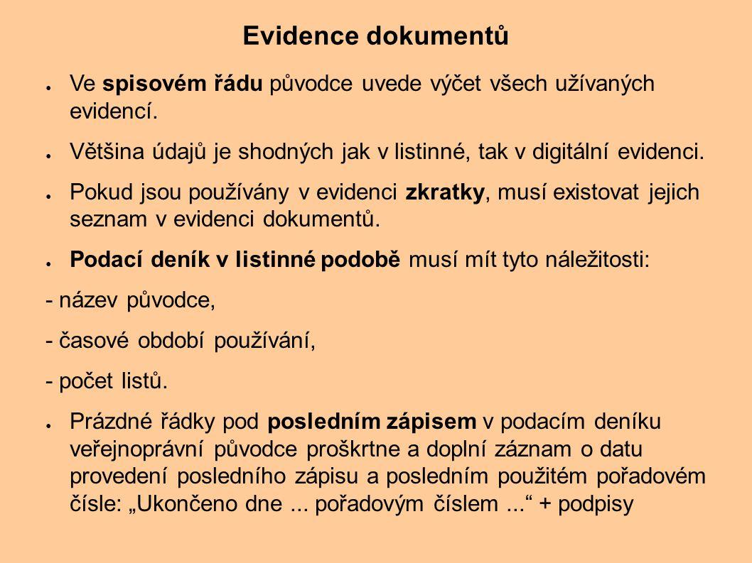 Evidence dokumentů Ve spisovém řádu původce uvede výčet všech užívaných evidencí.