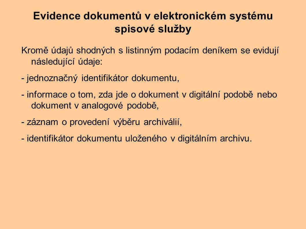Evidence dokumentů v elektronickém systému spisové služby