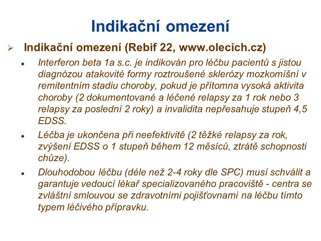 Indikační omezení Indikační omezení (Rebif 22, www.olecich.cz)