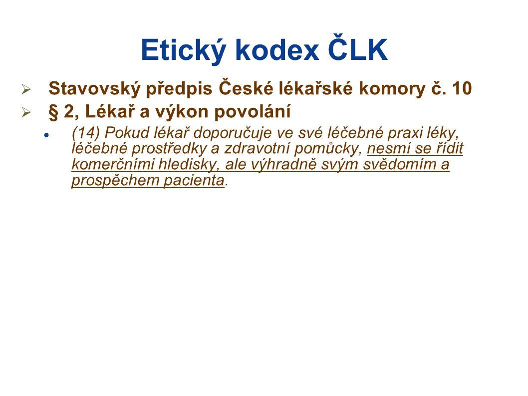 Etický kodex ČLK Stavovský předpis České lékařské komory č. 10