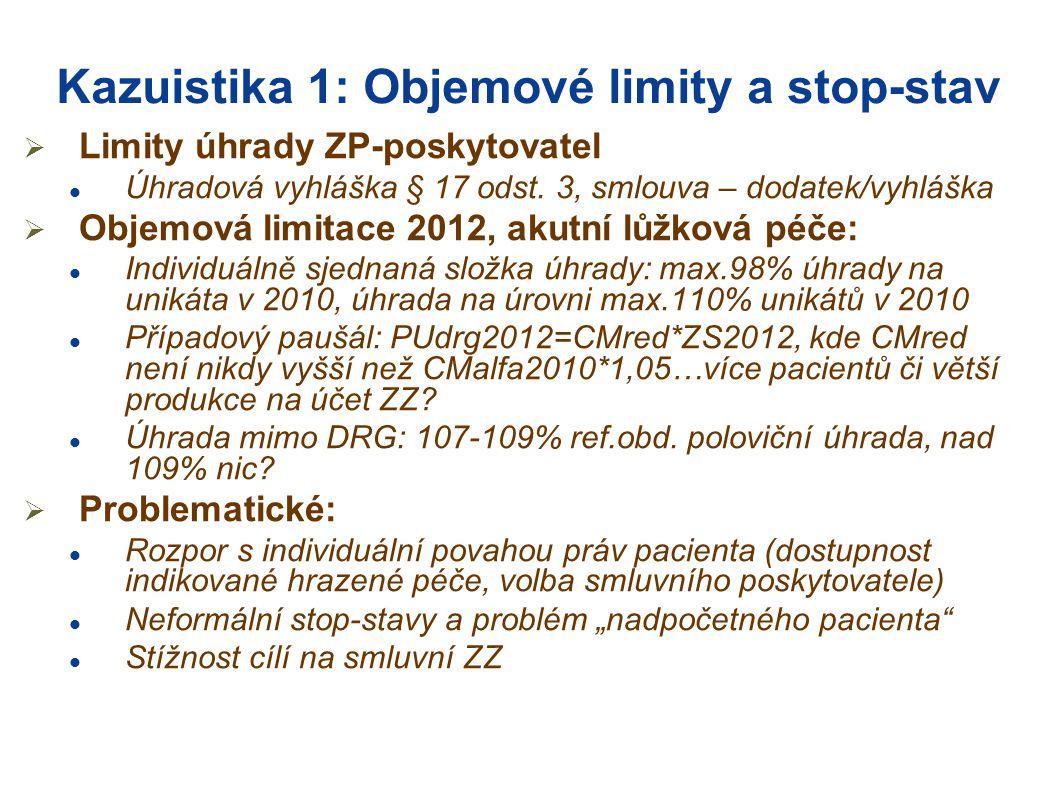 Kazuistika 1: Objemové limity a stop-stav