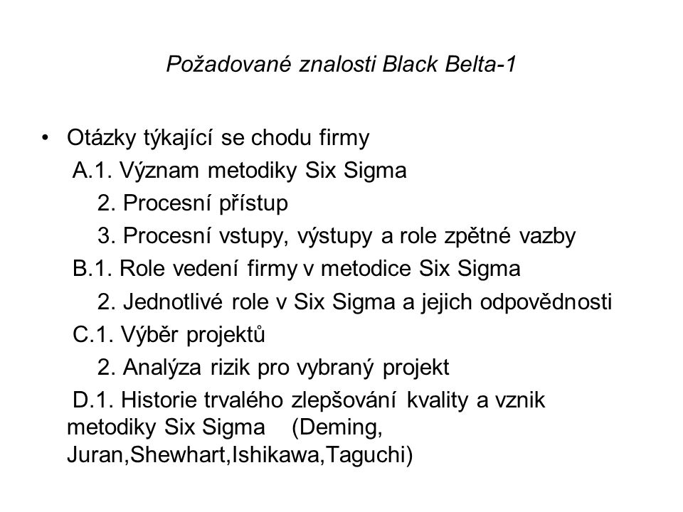 Požadované znalosti Black Belta-1