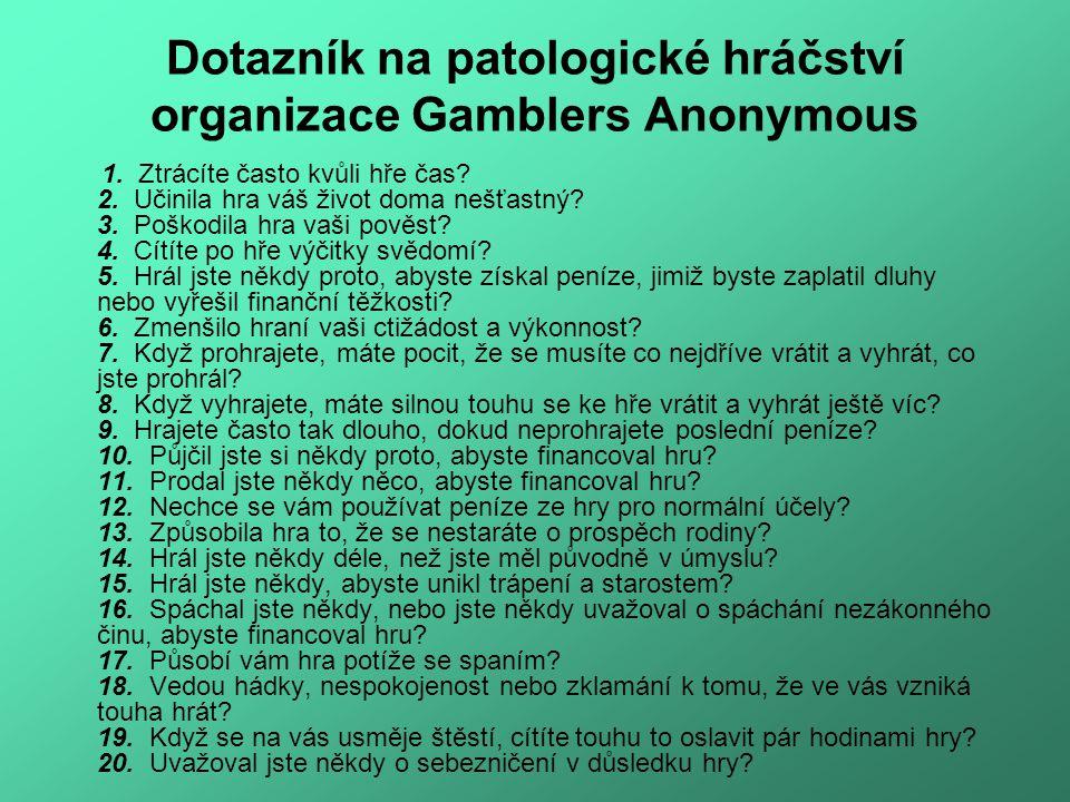 Dotazník na patologické hráčství organizace Gamblers Anonymous