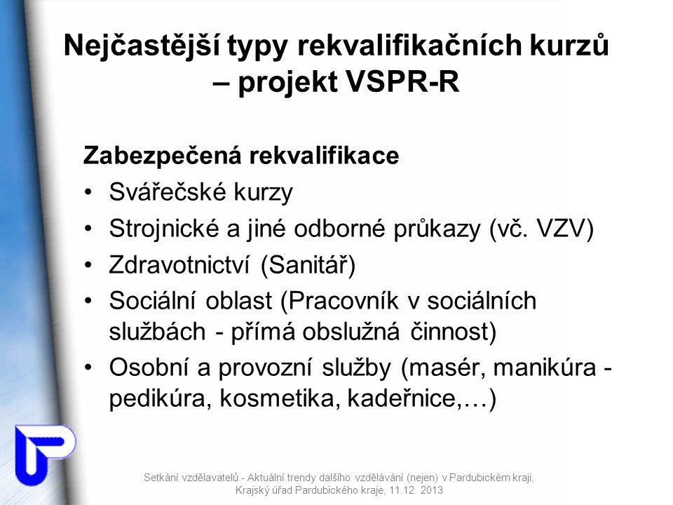 Nejčastější typy rekvalifikačních kurzů – projekt VSPR-R