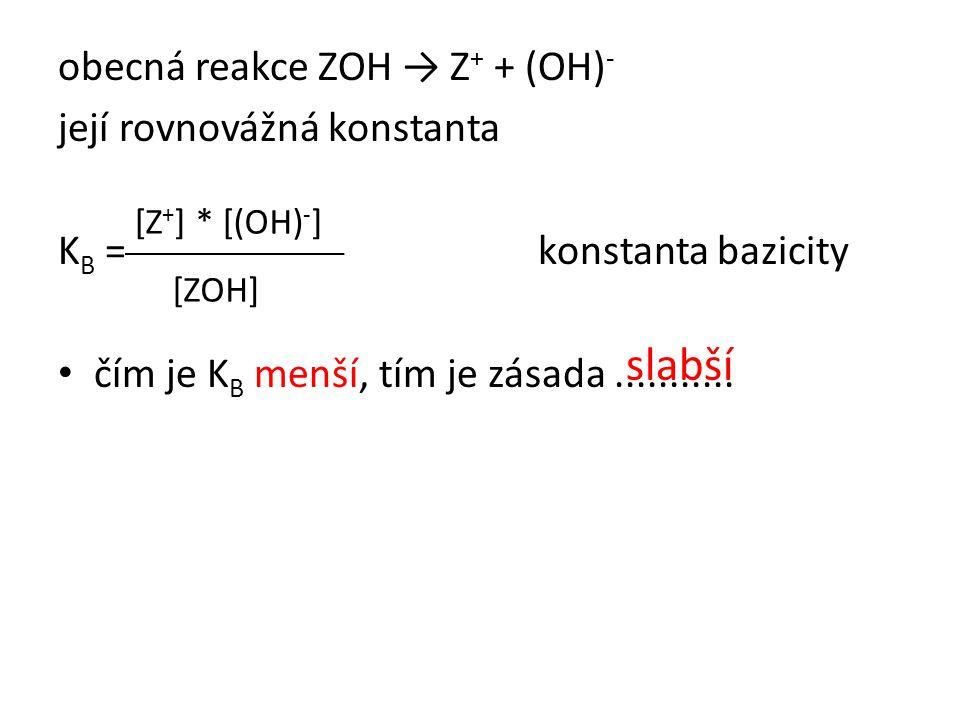 slabší obecná reakce ZOH → Z+ + (OH)- její rovnovážná konstanta