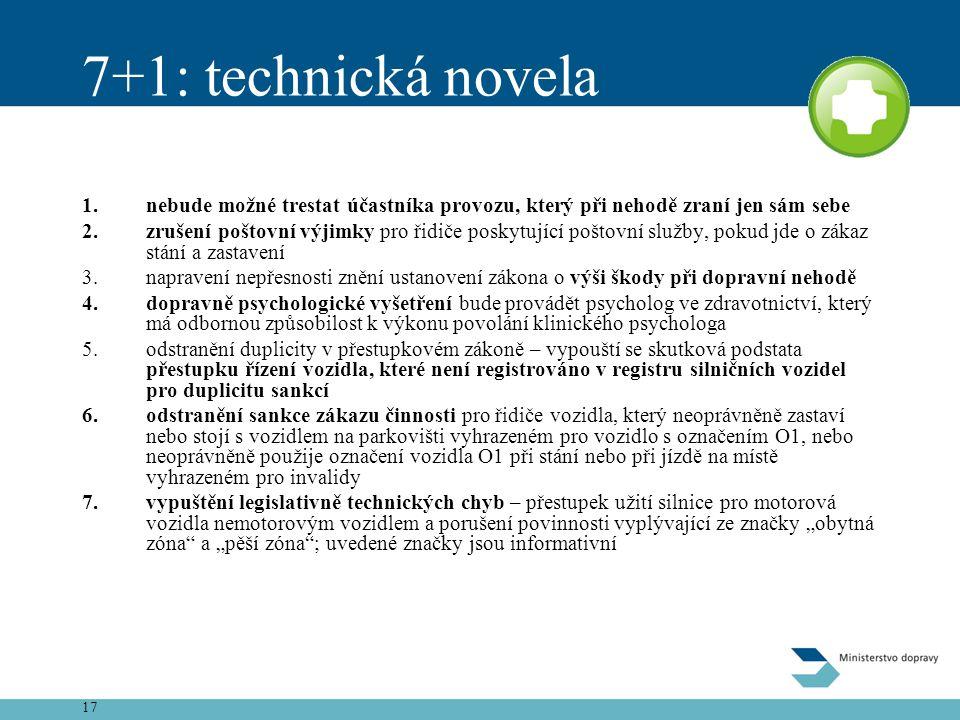 7+1: technická novela nebude možné trestat účastníka provozu, který při nehodě zraní jen sám sebe.
