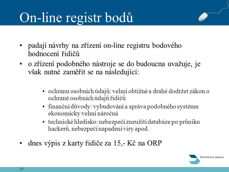 On-line registr bodů padají návrhy na zřízení on-line registru bodového hodnocení řidičů.