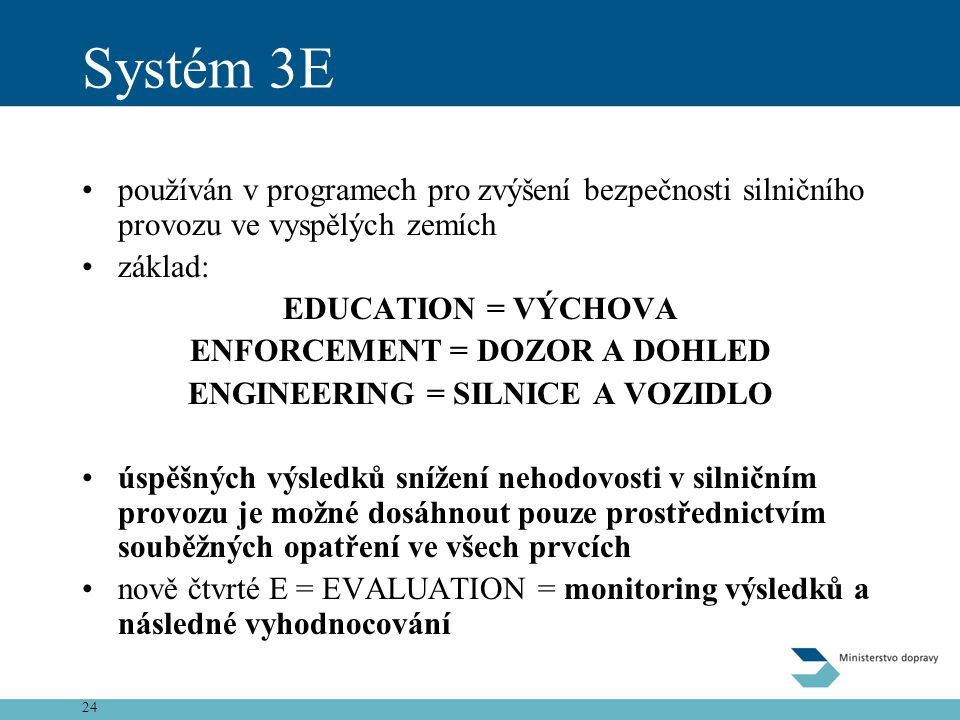 ENFORCEMENT = DOZOR A DOHLED ENGINEERING = SILNICE A VOZIDLO
