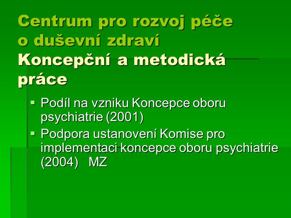 Centrum pro rozvoj péče o duševní zdraví Koncepční a metodická práce