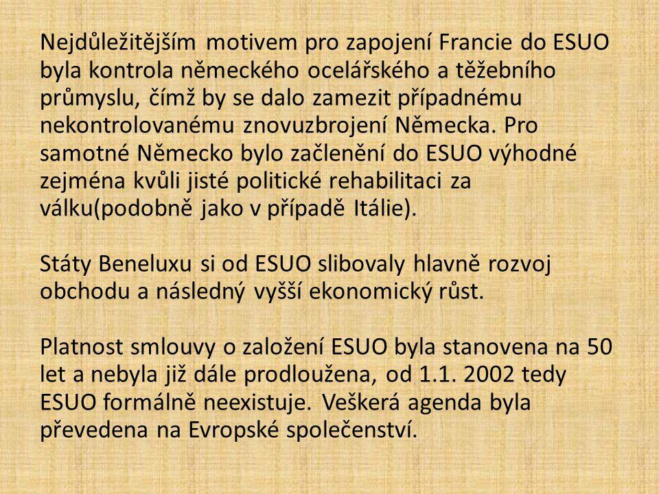 Nejdůležitějším motivem pro zapojení Francie do ESUO byla kontrola německého ocelářského a těžebního průmyslu, čímž by se dalo zamezit případnému nekontrolovanému znovuzbrojení Německa.