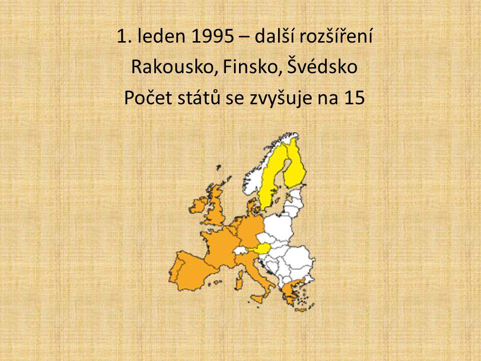 1. leden 1995 – další rozšíření Rakousko, Finsko, Švédsko