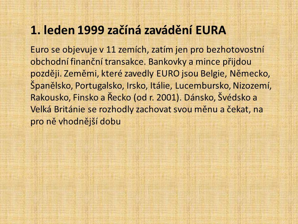 1. leden 1999 začíná zavádění EURA
