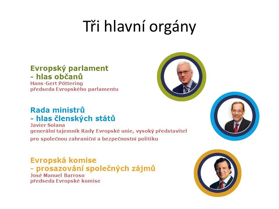 Tři hlavní orgány Evropský parlament - hlas občanů Hans-Gert Pöttering