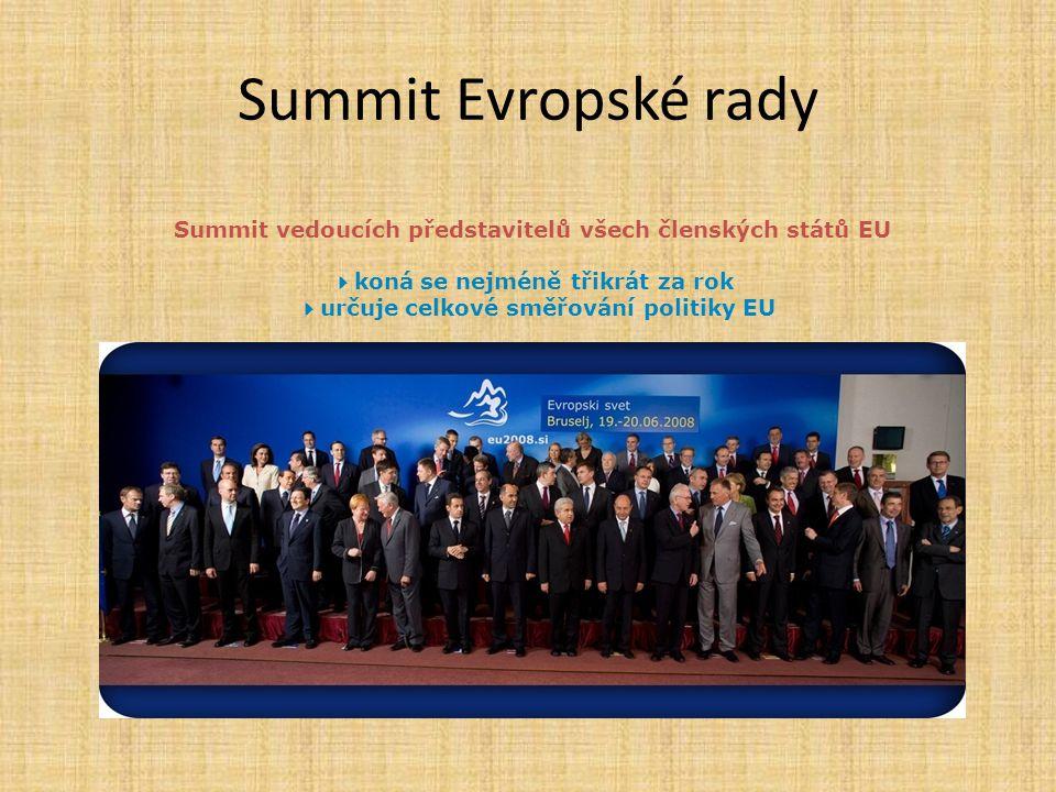 Summit Evropské rady Summit vedoucích představitelů všech členských států EU 4koná se nejméně třikrát za rok 4určuje celkové směřování politiky EU.