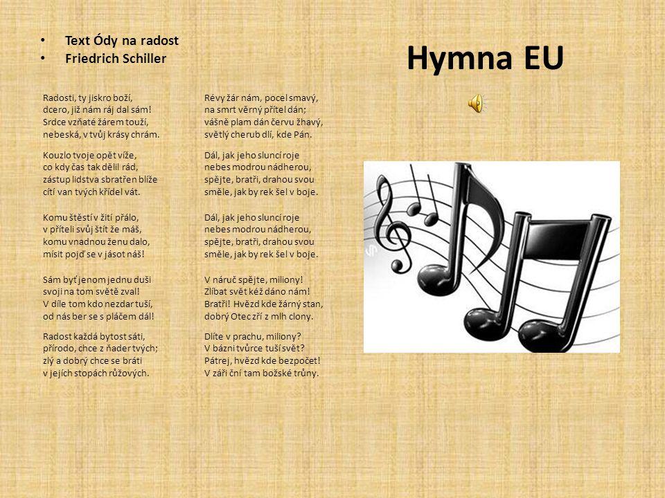 Hymna EU Text Ódy na radost Friedrich Schiller