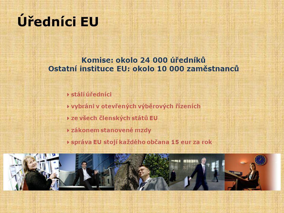 Úředníci EU Komise: okolo 24 000 úředníků Ostatní instituce EU: okolo 10 000 zaměstnanců. 4stálí úředníci.