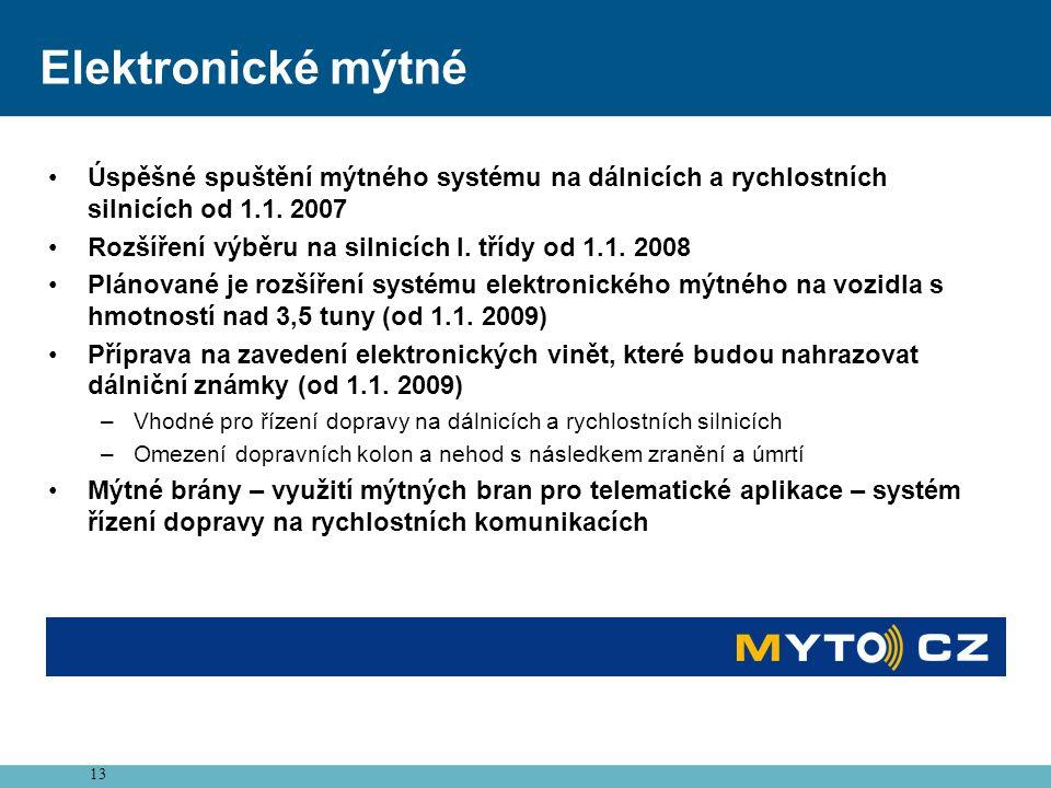 Elektronické mýtné Úspěšné spuštění mýtného systému na dálnicích a rychlostních silnicích od 1.1. 2007.