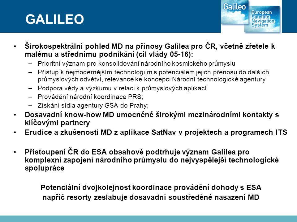 GALILEO Širokospektrální pohled MD na přínosy Galilea pro ČR, včetně zřetele k malému a střednímu podnikání (cíl vlády 05-16):